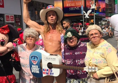 Black Country comedy troupe The Fizzogs dance with The Naked Cowboy in New York